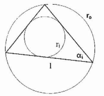 Geometrical definitions for a standard triangular finite element.